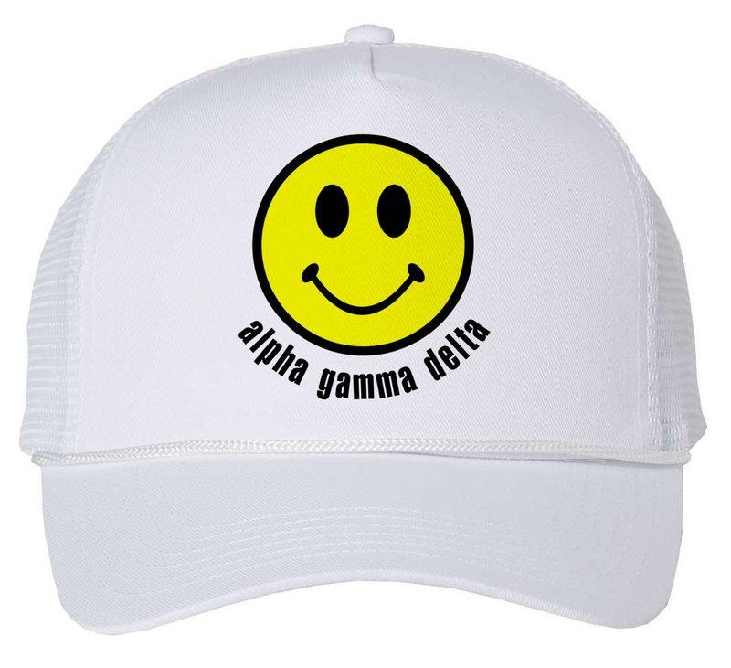 Alpha Gamma Delta Smiley Face Trucker Hat