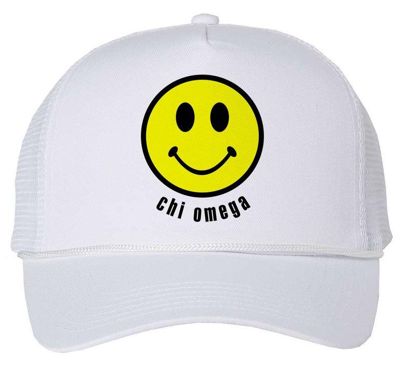 Chi Omega Smiley Face Trucker Hat