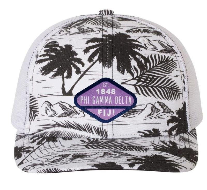 DISCOUNT-FIJI Fraternity Island Print Snapback Trucker Cap