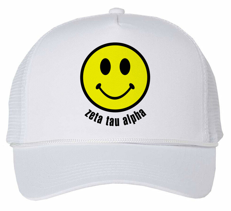 Zeta Tau Alpha Smiley Face Trucker Hat
