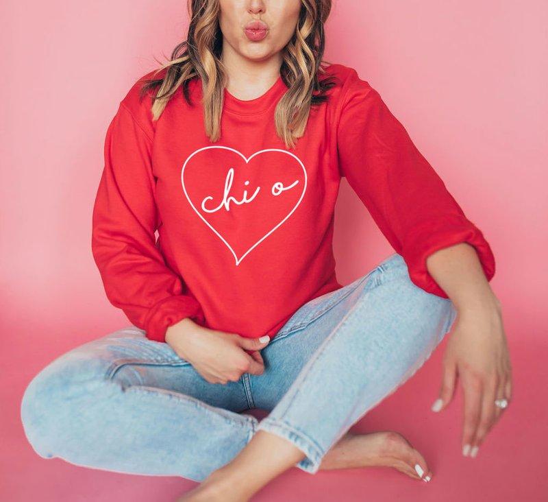 Chi Omega Heart Crew Sweatshirt