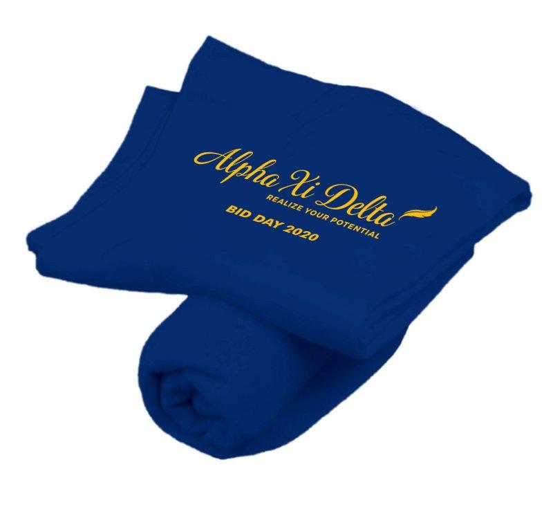 Alpha Xi Delta Mascot Sweatshirt Blanket