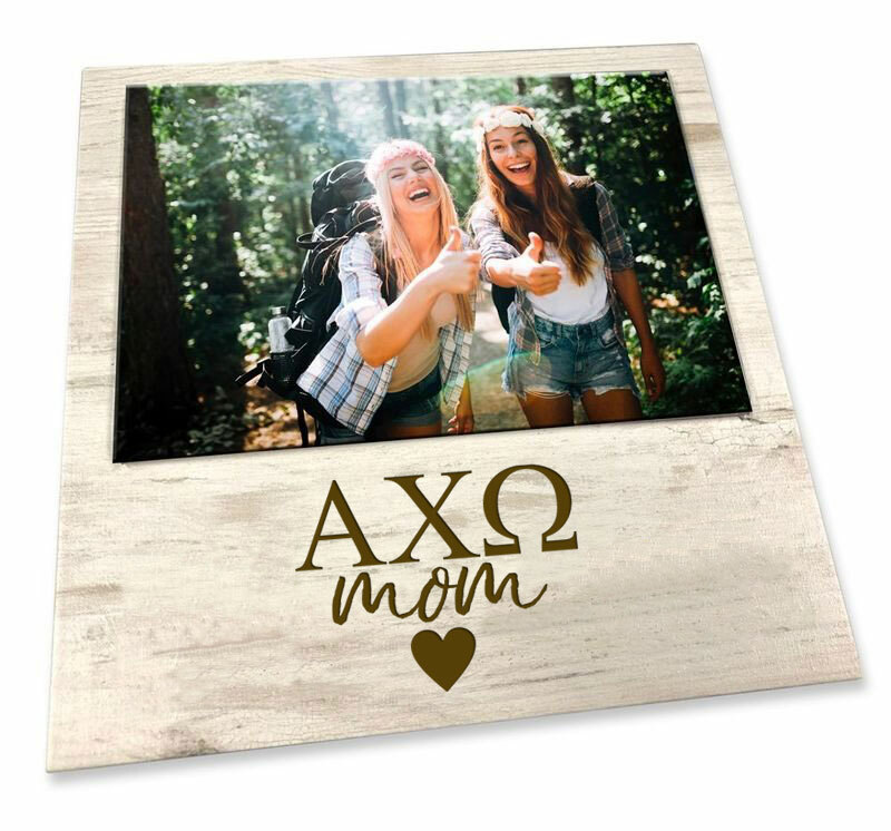 """Alpha Chi Omega White 7"""" x 7"""" Faux Wood Picture Frame"""