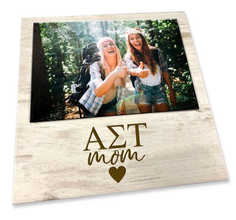 "Alpha Sigma Tau White 7"" x 7"" Faux Wood Picture Frame"