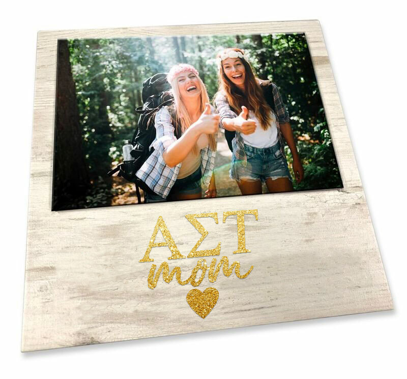"Alpha Sigma Tau White 7"" x 7"" Faux Wood Picture Frame"