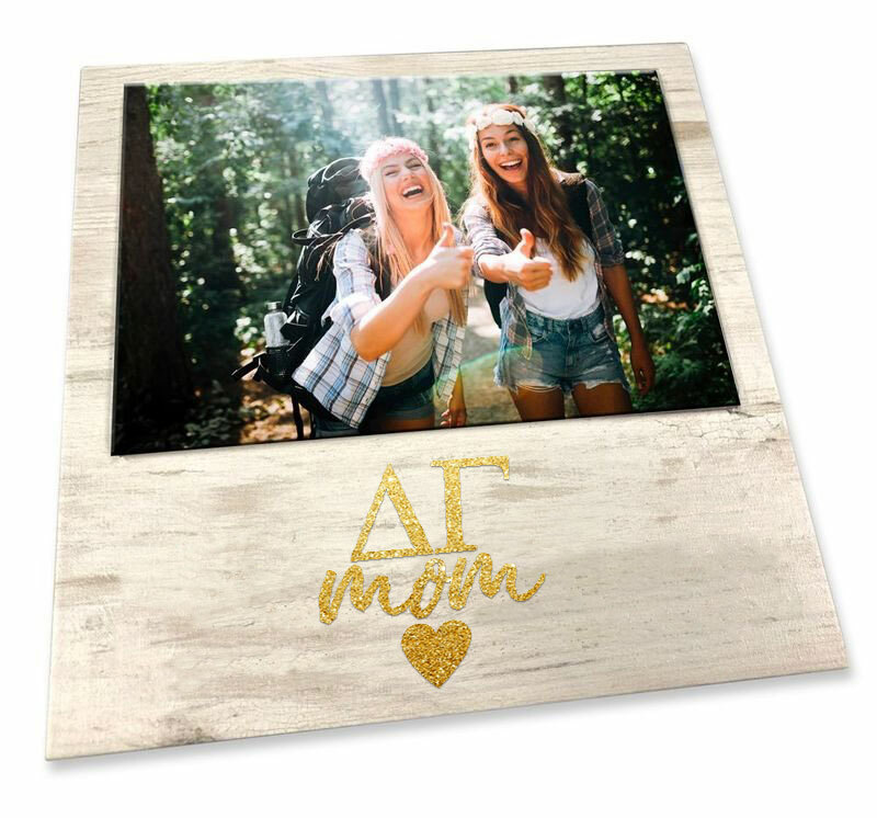 """Delta Gamma White 7"""" x 7"""" Faux Wood Picture Frame"""
