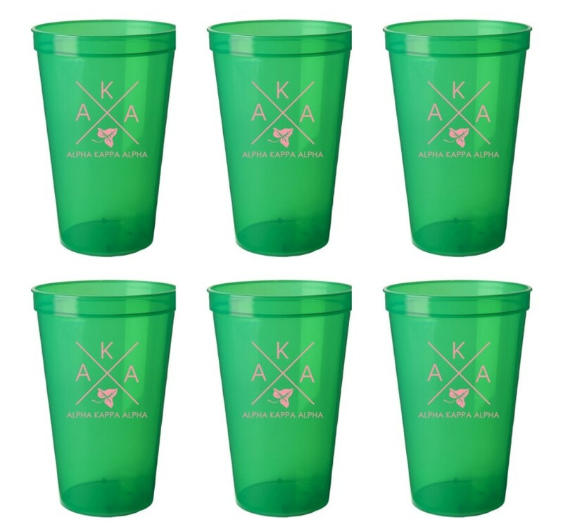 Alpha Kappa Alpha Set of 6 Big Plastic Stadium Cups