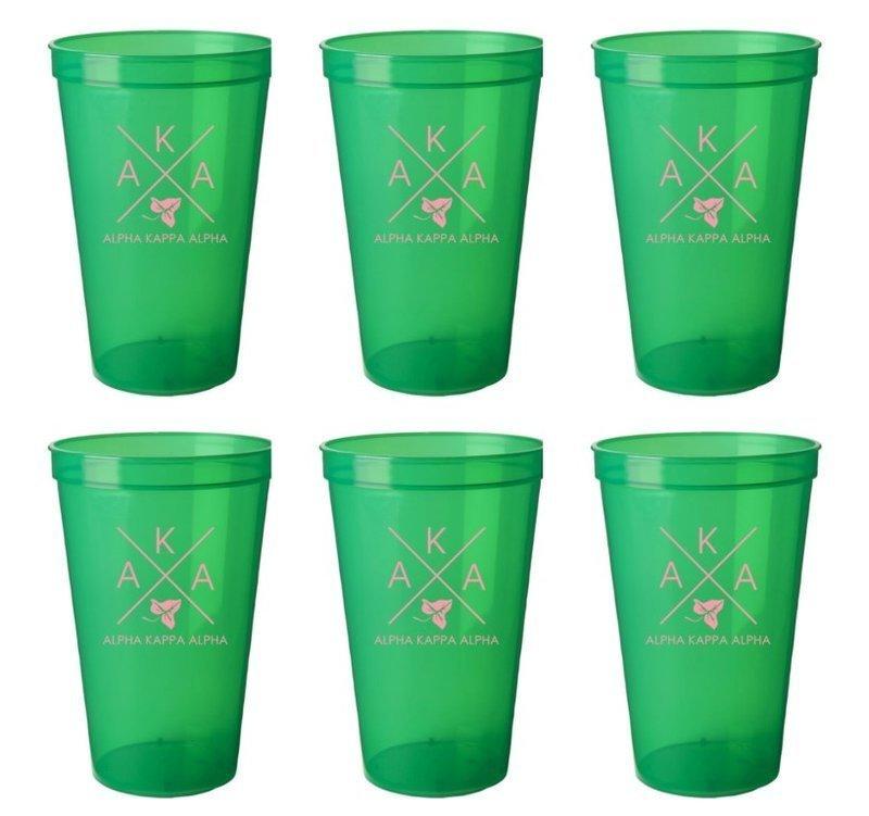 Alpha Kappa Alpha Set of 6 Big Plastic Stadium Cups - FREE GROUND SHIPPING