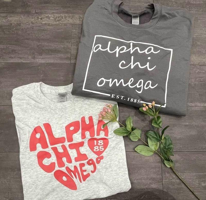 The New Super Savings - Alpha Chi Omega Crewneck and Tee Set - GREY