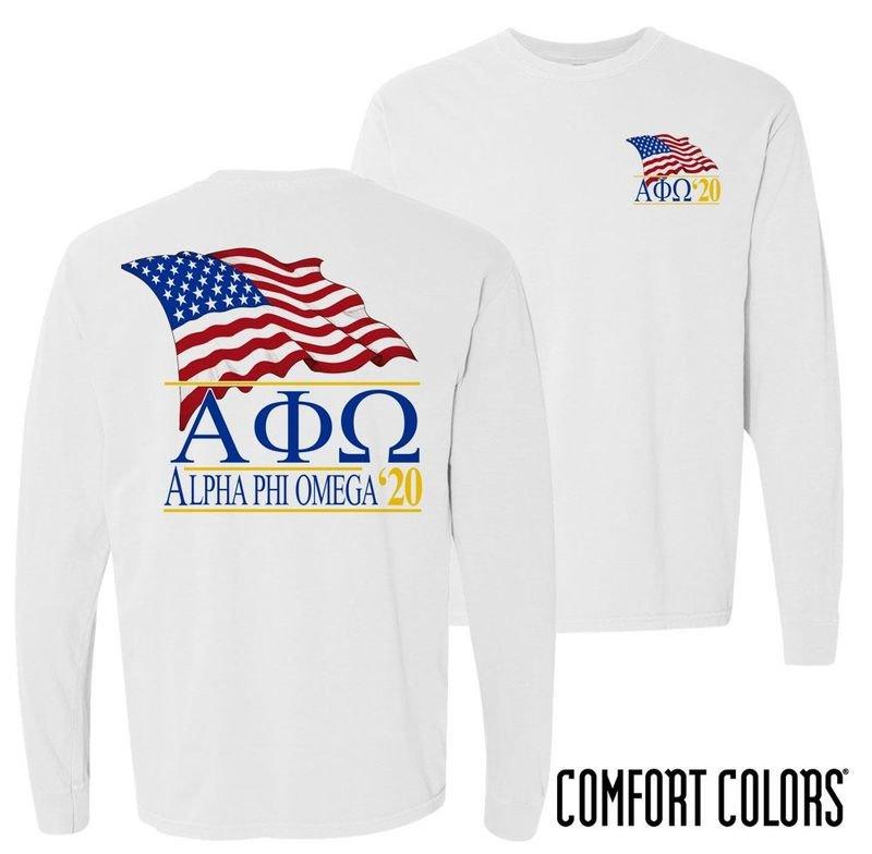 Alpha Phi Omega Patriot Long Sleeve T-shirt - Comfort Colors