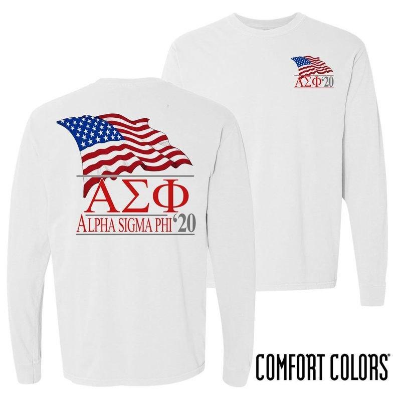 Alpha Sigma Phi Patriot Long Sleeve T-shirt - Comfort Colors