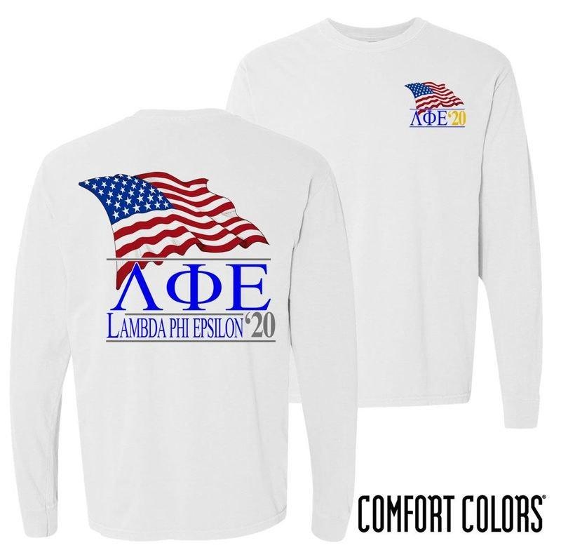 Lambda Phi Epsilon Patriot Long Sleeve T-shirt - Comfort Colors