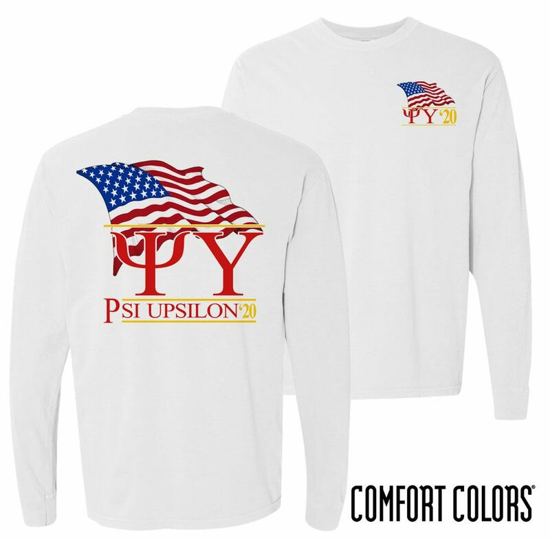Psi Upsilon Patriot Long Sleeve T-shirt - Comfort Colors