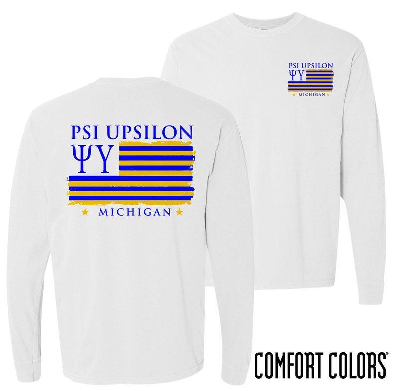 Psi Upsilon Stripes Long Sleeve T-shirt - Comfort Colors