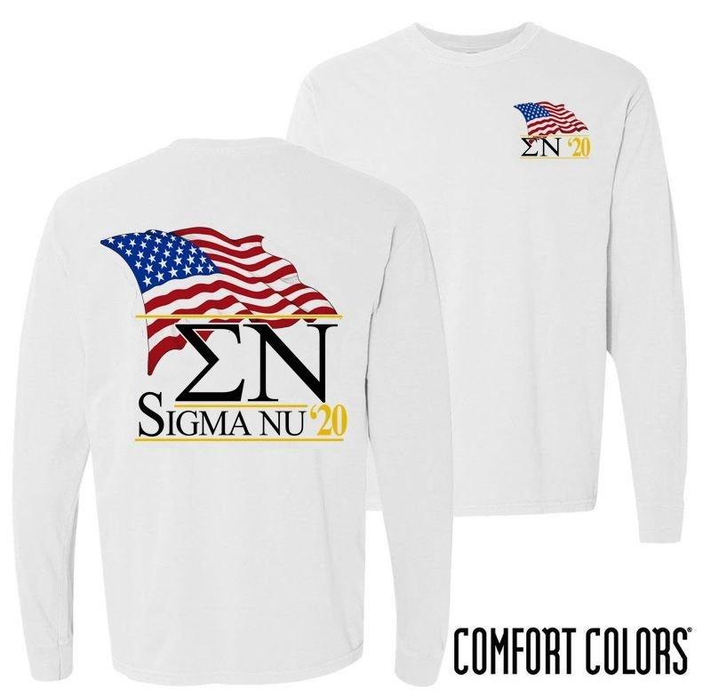 Sigma Nu Patriot Long Sleeve T-shirt - Comfort Colors