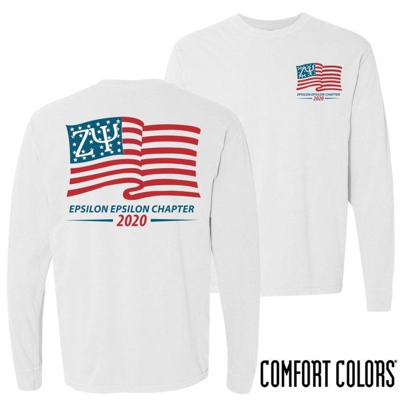 Zeta Psi Old Glory Long Sleeve T-shirt - Comfort Colors