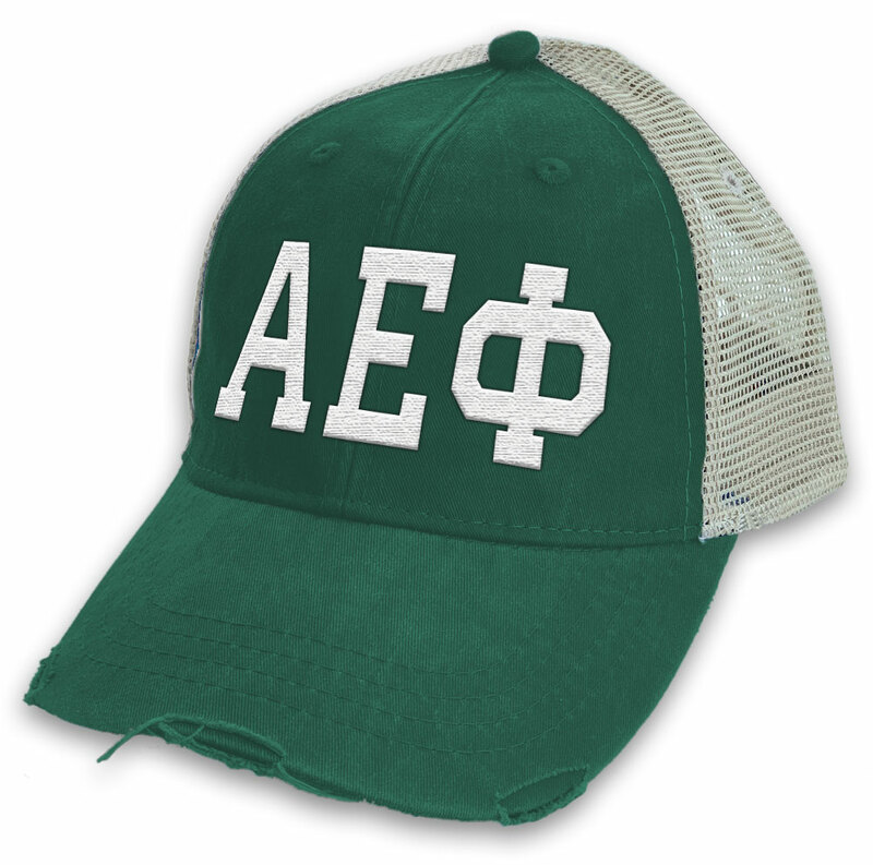 Alpha Epsilon Phi Distressed Trucker Hat