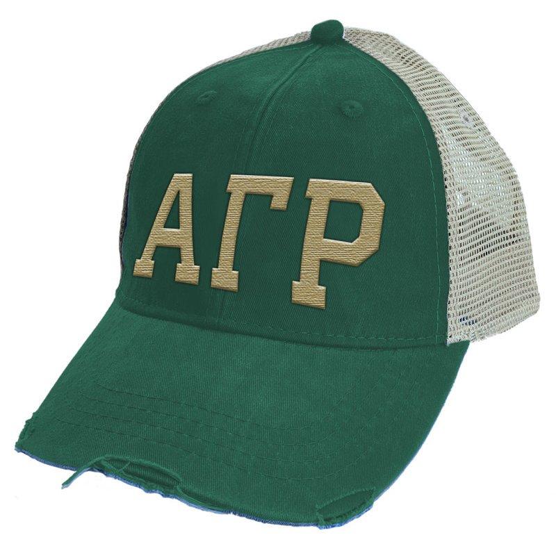 Alpha Gamma Rho Distressed Trucker Hat