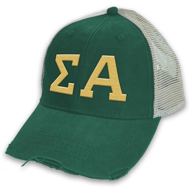 Sigma Alpha Distressed Trucker Hat