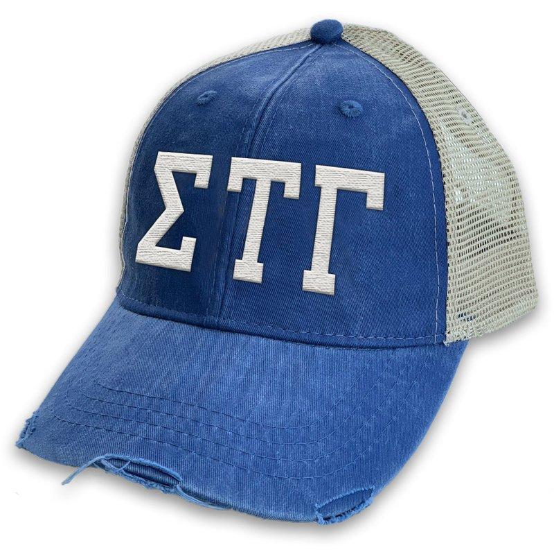 Sigma Tau Gamma Distressed Trucker Hat