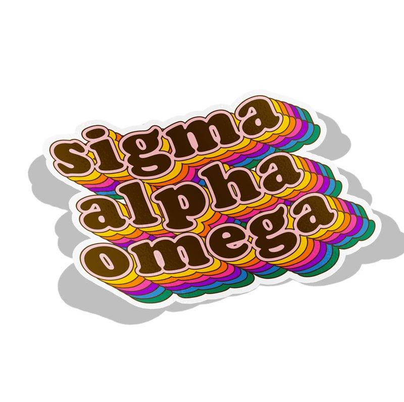 Sigma Alpha Omega Retro Maya Decal Sticker