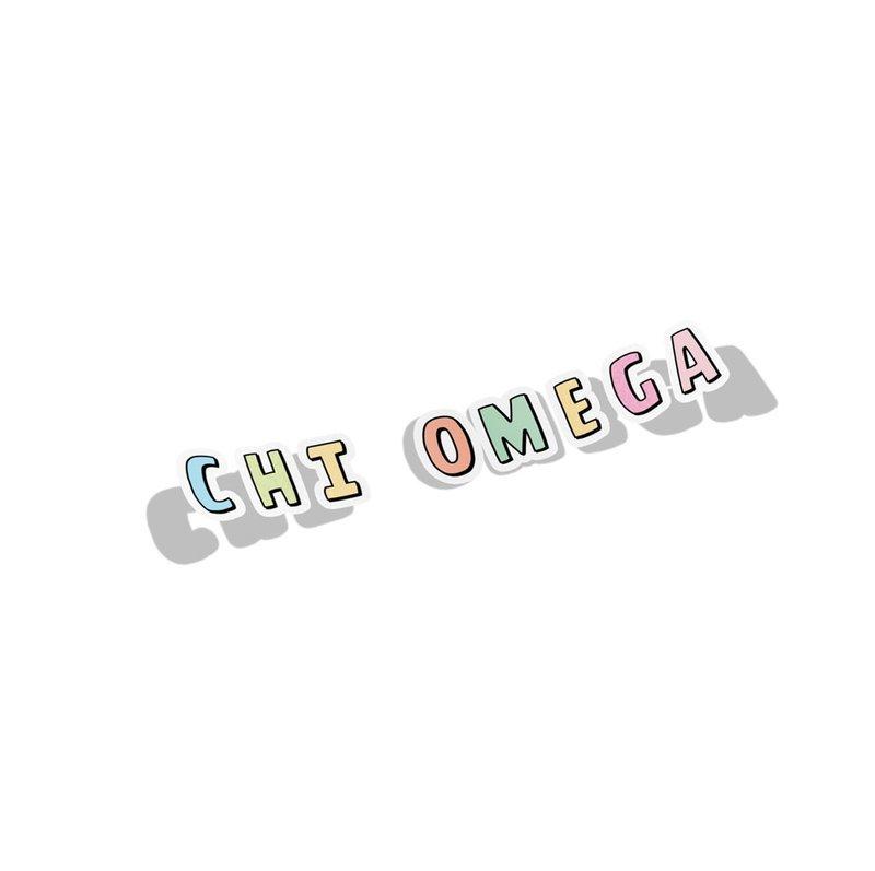 Chi Omega Cartoon Decal Sticker