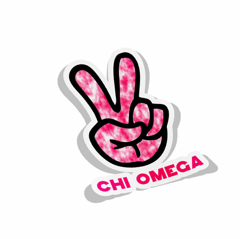 Chi Omega Peace Hands Decal Sticker
