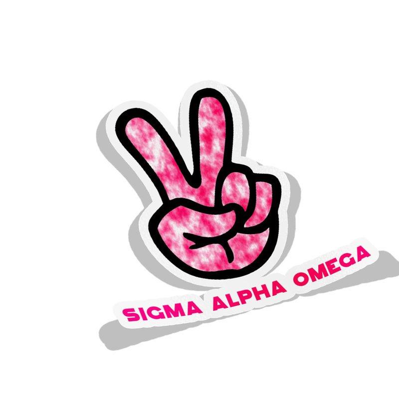 Sigma Alpha Omega Peace Hands Decal Sticker