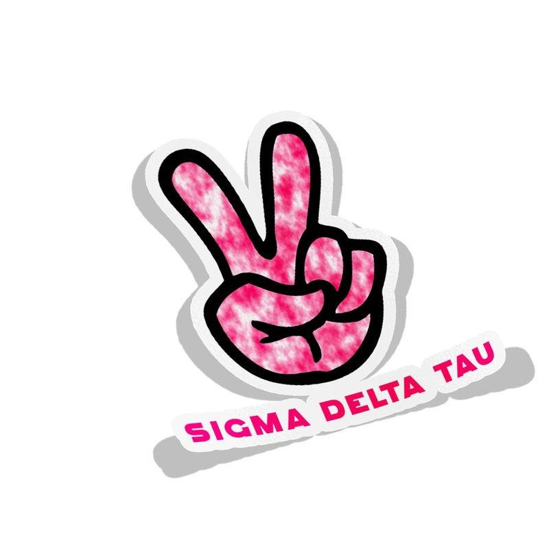 Sigma Delta Tau Peace Hands Decal Sticker