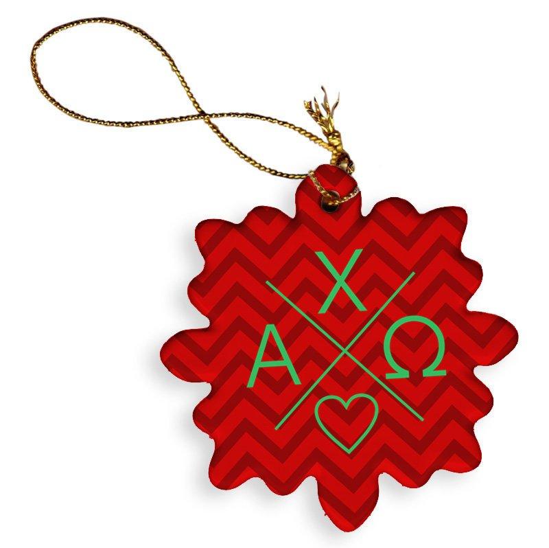 Alpha Chi Omega Porcelain Ornament Snowflake