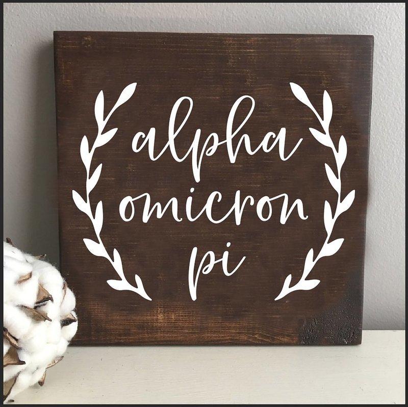 Alpha Omicron Pi Wooden Wall Art