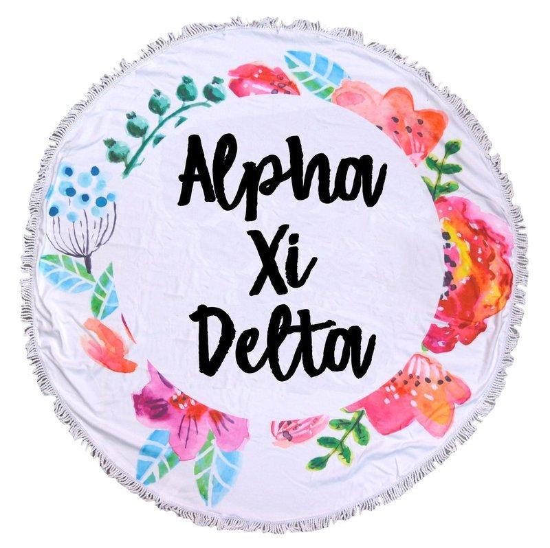 Alpha Xi Delta Fringe Towel Blanket