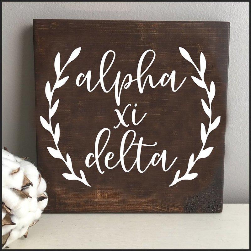 Alpha Xi Delta Wooden Wall Art