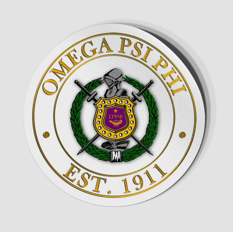 Omega Psi Phi Circle Crest - Shield Decal