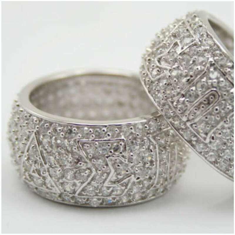 Sorority Sterling silver CZ all-pavé ring