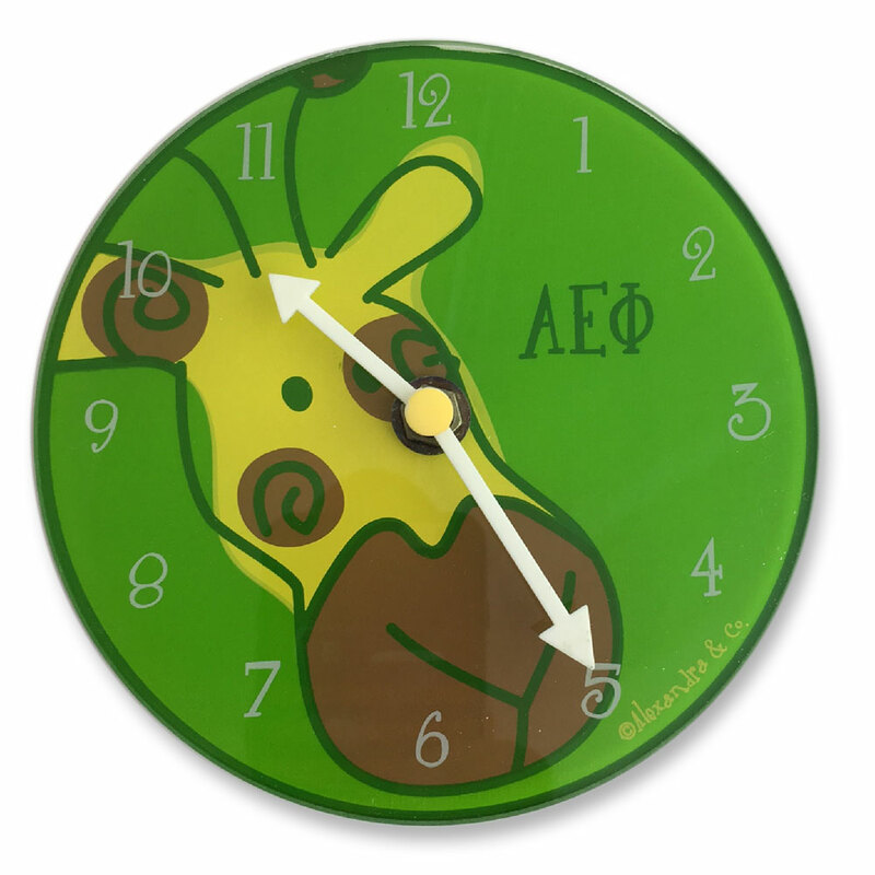 A E Phi Glass Sorority Clock -  Closeout