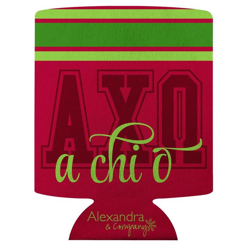Alpha Chi Omega Striped Can Cooler