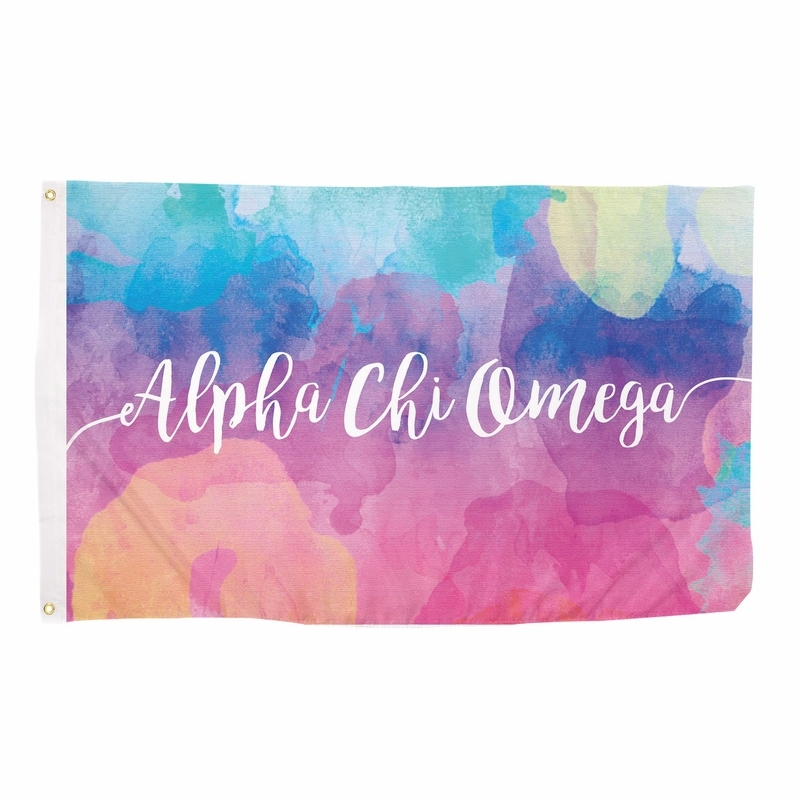 Alpha Chi Omega Watercolor Flag