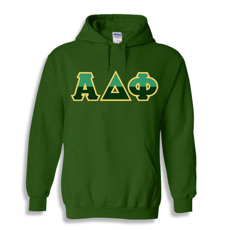 Alpha Delta Phi Two Tone Greek Lettered Hooded Sweatshirt
