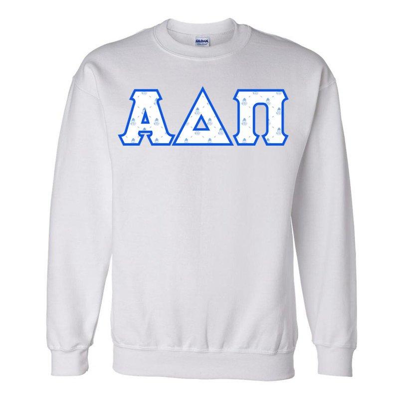 Alpha Delta Pi Official Crest Pattern Greek Lettered Crewneck Sweatshirt