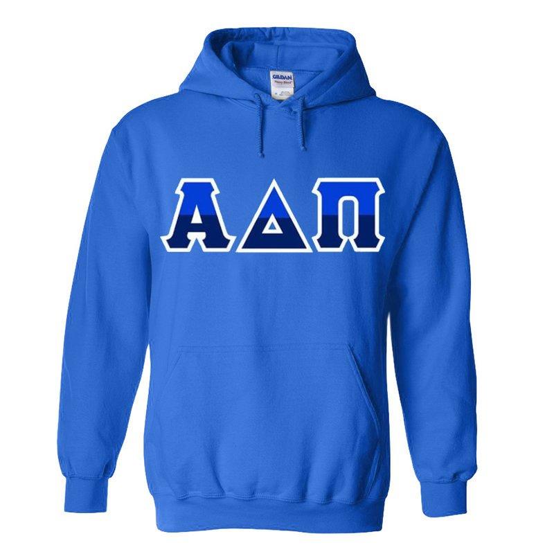 Alpha Delta Pi Two Tone Greek Lettered Hooded Sweatshirt