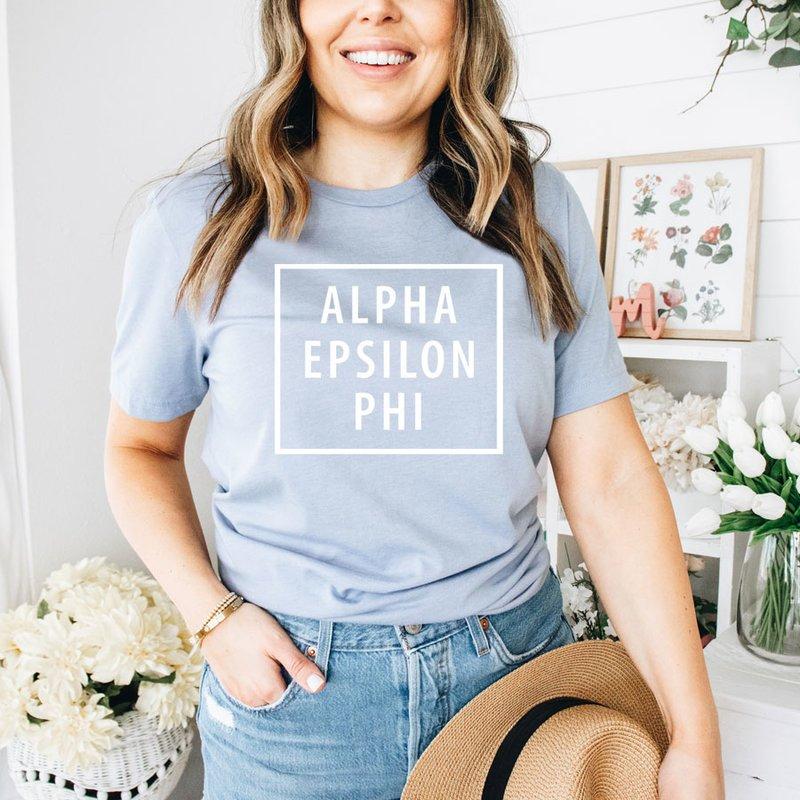 Alpha Epsilon Phi Comfort Colors Box Tee