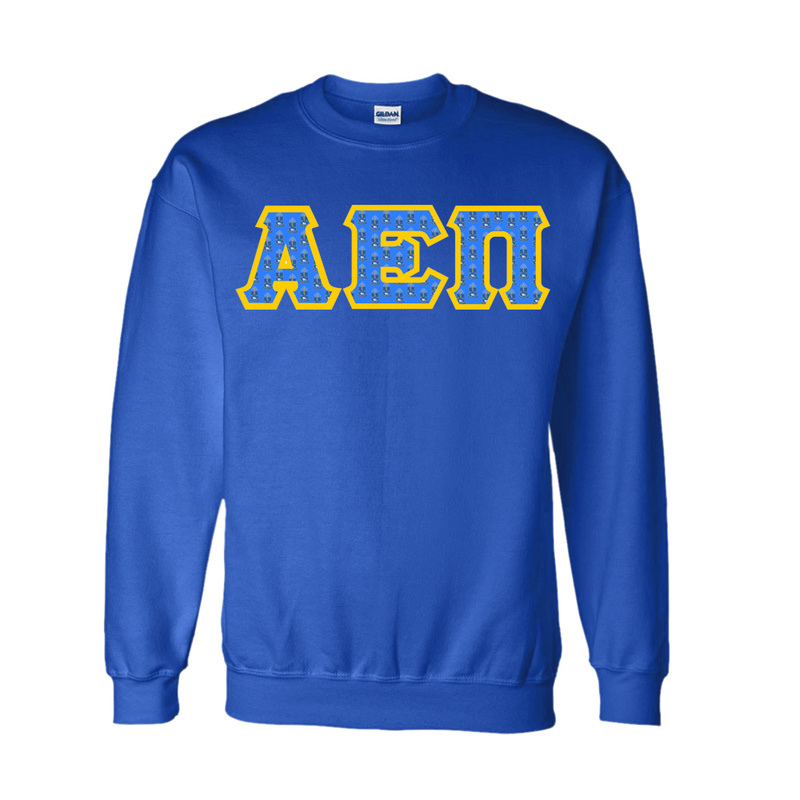Alpha Epsilon Pi Fraternity Crest - Shield Twill Letter Crewneck Sweatshirt