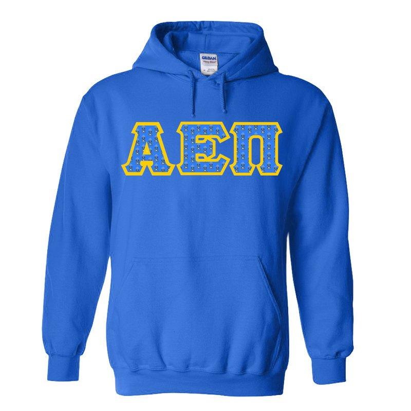 Alpha Epsilon Pi Fraternity Crest - Shield Twill Letter Hooded Sweatshirt