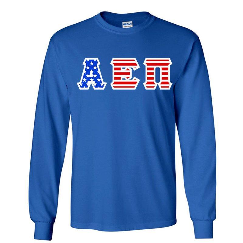 Alpha Epsilon Pi Greek Letter American Flag long sleeve tee