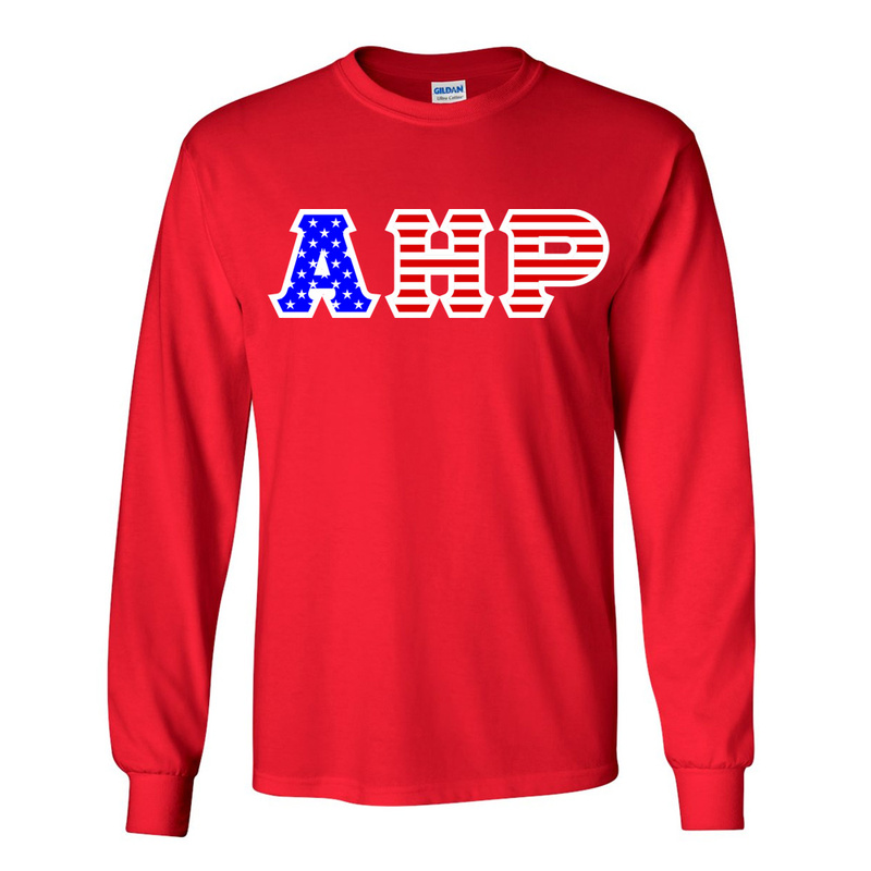 Alpha Eta Rho Greek Letter American Flag long sleeve tee