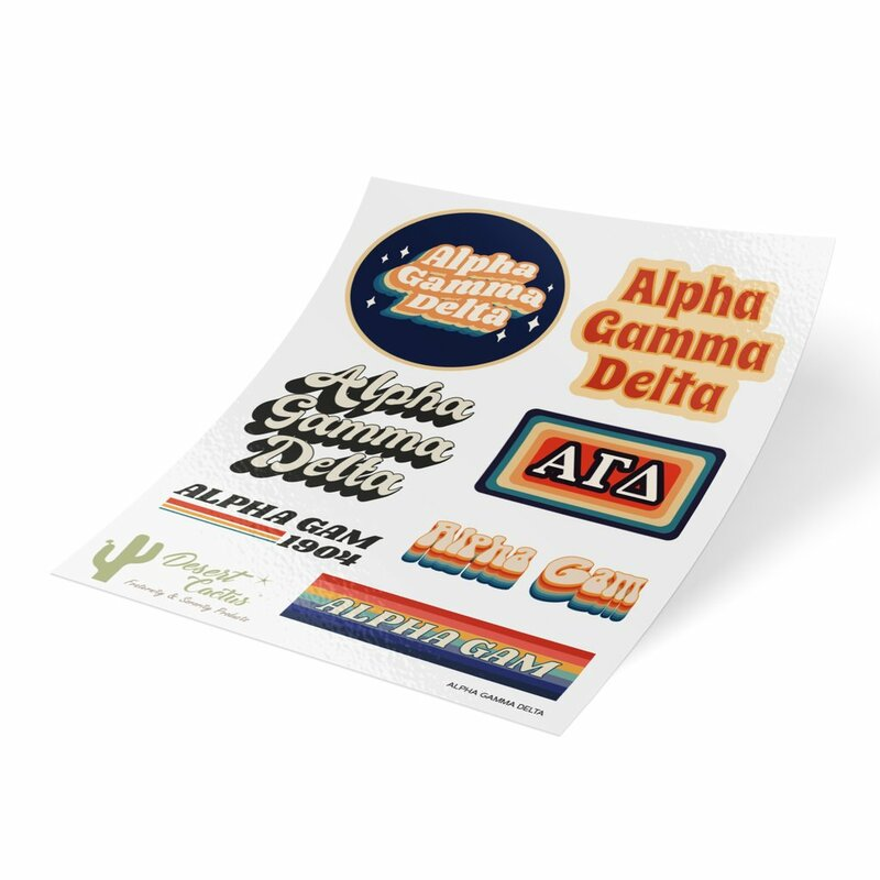 Alpha Gamma Delta 70's Sticker Sheet