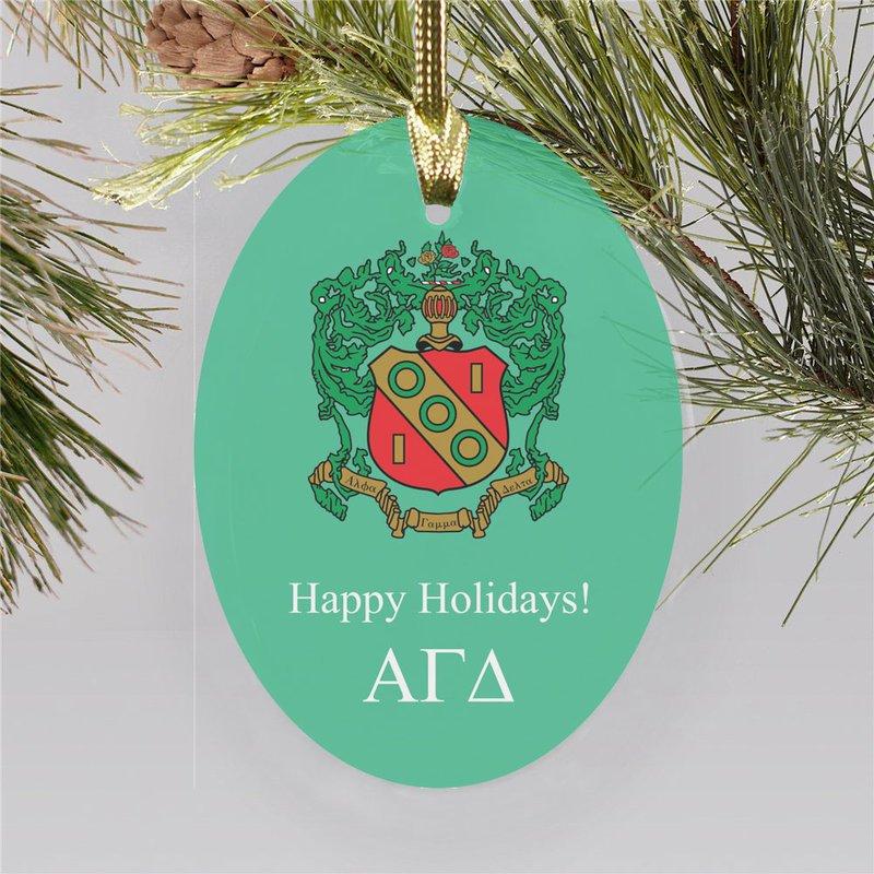 Alpha Gamma Delta Holiday Color Crest - Shield Ornament