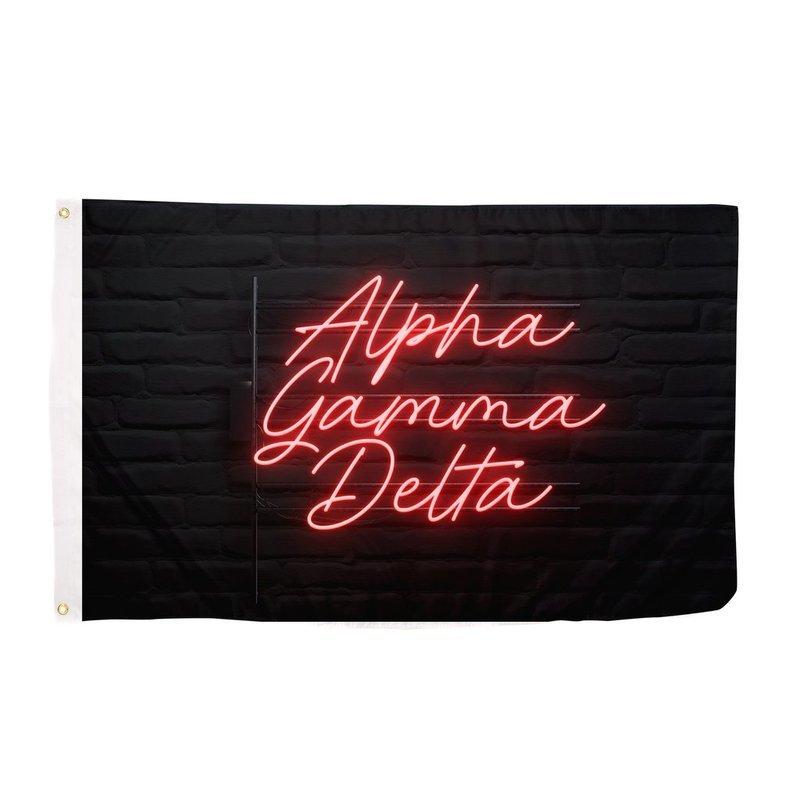 Alpha Gamma Delta Neon Flag