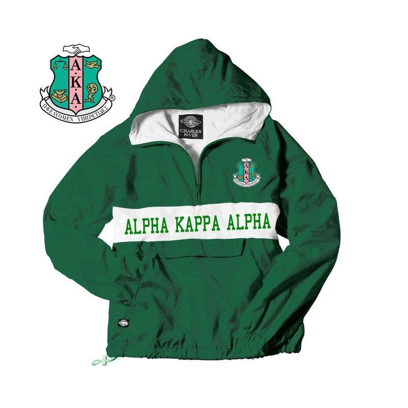 Alpha Kappa Alpha Charles River Custom Stripe Greek Pullover Anorak